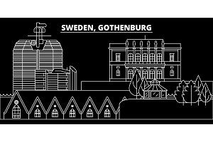 Gothenburg silhouette skyline. Sweden - Gothenburg vector city, swedish linear architecture, buildings. Gothenburg travel illustration, outline landmarks. Sweden flat icon, swedish line banner
