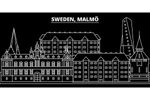 Malmo silhouette skyline. Sweden - Malmo vector city, swedish linear architecture, buildings. Malmo line travel illustration, landmarks. Sweden flat icon, swedish outline design banner