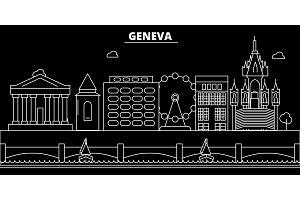 Geneva silhouette skyline. Switzerland - Geneva vector city, swiss linear architecture, buildings. Geneva travel illustration, outline landmarks. Switzerland flat icon, swiss line banner