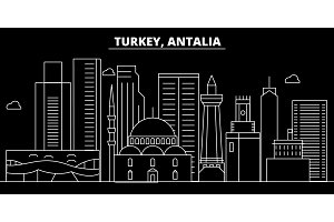 Antalia silhouette skyline. Turkey - Antalia vector city, turkish linear architecture, buildings. Antalia travel illustration, outline landmarks. Turkey flat icon, turkish line banner