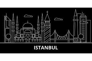 Istanbul silhouette skyline. Turkey - Istanbul vector city, turkish linear architecture, buildings. Istanbul travel illustration, outline landmarks. Turkey flat icon, turkish line banner