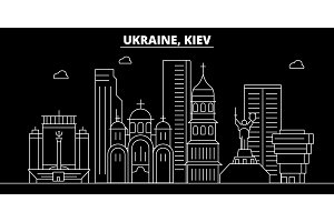 Kiev silhouette skyline. Ukraine - Kiev vector city, ukrainian linear architecture, buildings. Kiev travel illustration, outline landmarks. Ukraine flat icon, ukrainian line banner