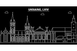 Lviv silhouette skyline. Ukraine - Lviv vector city, ukrainian linear architecture, buildings. Lviv travel illustration, outline landmarks. Ukraine flat icon, ukrainian line banner
