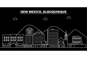 Albuquerque silhouette skyline. USA - Albuquerque vector city, american linear architecture, buildings. Albuquerque line travel illustration, landmarks. USA flat icon, american outline design banner
