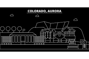 Aurora silhouette skyline. USA - Aurora vector city, american linear architecture, buildings. Aurora travel illustration, outline landmarks. USA flat icon, american line banner