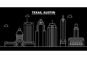Austin silhouette skyline. USA - Austin vector city, american linear architecture, buildings. Austin travel illustration, outline landmarks. USA flat icon, american line banner