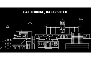 Bakersfield silhouette skyline. USA - Bakersfield vector city, american linear architecture, buildings. Bakersfield travel illustration, outline landmarks. USA flat icon, american line banner