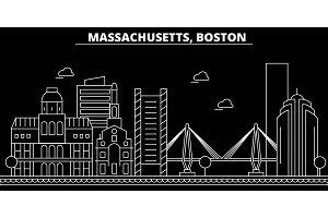 Boston silhouette skyline. USA - Boston vector city, american linear architecture, buildings. Boston travel illustration, outline landmarks. USA flat icon, american line banner