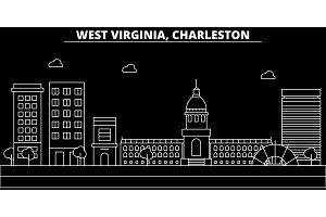 Charleston silhouette skyline. USA - Charleston vector city, american linear architecture, buildings. Charleston line travel illustration, landmarks. USA flat icon, american outline design banner