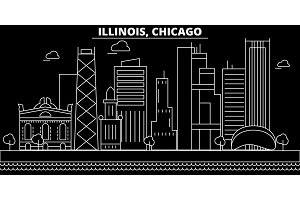 Chicago silhouette skyline. USA - Chicago vector city, american linear architecture, buildings. Chicago travel illustration, outline landmarks. USA flat icon, american line banner
