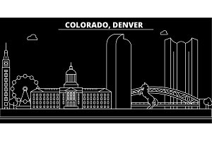 Denver silhouette skyline. USA - Denver vector city, american linear architecture, buildings. Denver travel illustration, outline landmarks. USA flat icon, american line banner