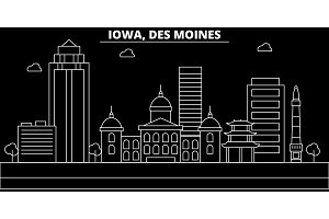 Des Moines silhouette skyline. USA - Des Moines vector city, american linear architecture, buildings. Des Moines travel illustration, outline landmarks. USA flat icon, american line banner