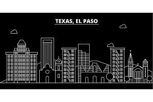 El Paso silhouette skyline. USA - El Paso vector city, american linear architecture, buildings. El Paso travel illustration, outline landmarks. USA flat icon, american line banner