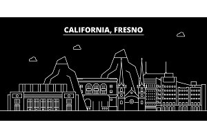 Fresno silhouette skyline. USA - Fresno vector city, american linear architecture, buildings. Fresno travel illustration, outline landmarks. USA flat icon, american line banner