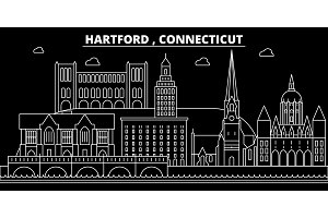 Hartford silhouette skyline. USA - Hartford vector city, american linear architecture, buildings. Hartford travel illustration, outline landmarks. USA flat icon, american line banner