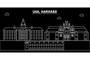 Harvard silhouette skyline. USA - Harvard vector city, american linear architecture, buildings. Harvard travel illustration, outline landmarks. USA flat icon, american line banner