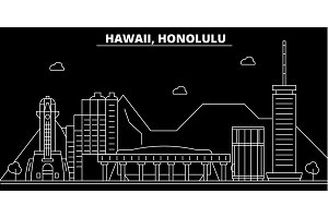 Honolulu silhouette skyline. USA - Honolulu vector city, american linear architecture, buildings. Honolulu travel illustration, outline landmarks. USA flat icon, american line banner