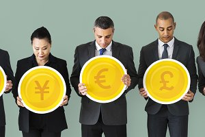 Business People holding icons (PSD)