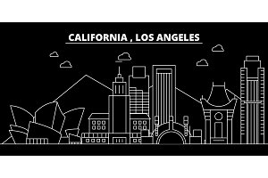 Los Angeles silhouette skyline. USA - Los Angeles vector city, american linear architecture, buildings. Los Angeles travel illustration, outline landmarks. USA flat icon, american line banner