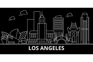 Los Angeles city silhouette skyline. USA - Los Angeles city vector city, american linear architecture. Los Angeles city travel illustration, outline landmarks. USA flat icon, american line banner