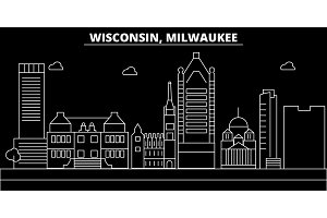 Milwaukee City silhouette skyline. USA - Milwaukee City vector city, american linear architecture. Milwaukee City travel illustration, outline landmarks. USA flat icon, american line banner