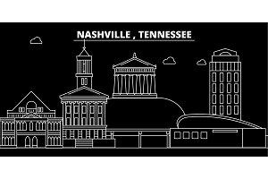 Nashville silhouette skyline. USA - Nashville vector city, american linear architecture, buildings. Nashville travel illustration, outline landmarks. USA flat icon, american line banner