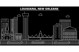 New Orleans silhouette skyline. USA - New Orleans vector city, american linear architecture, buildings. New Orleans travel illustration, outline landmarks. USA flat icon, american line banner