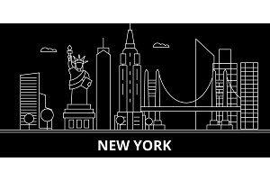 New York silhouette skyline. USA - New York vector city, american linear architecture, buildings. New York line travel illustration, landmarks. USA flat icon, american outline design