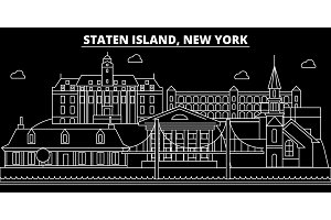 New York City silhouette skyline. USA - New York City vector city, american linear architecture, buildings. New York City line travel illustration, landmarks. USA flat icon, american outline design