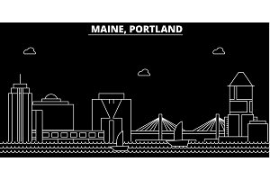 Portland silhouette skyline. USA - Portland vector city, american linear architecture, buildings. Portland line travel illustration, landmarks. USA flat icon, american outline design banner