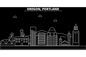Portland city silhouette skyline. USA - Portland city vector city, american linear architecture, buildings. Portland city line travel illustration, landmarks. USA flat icon, american outline design