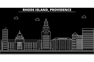 Providence silhouette skyline. USA - Providence vector city, american linear architecture, buildings. Providence travel illustration, outline landmarks. USA flat icon, american line banner