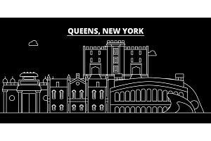Queens silhouette skyline. USA - Queens vector city, american linear architecture, buildings. Queens travel illustration, outline landmarks. USA flat icon, american line banner