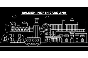 Raleigh silhouette skyline. USA - Raleigh vector city, american linear architecture, buildings. Raleigh travel illustration, outline landmarks. USA flat icon, american line banner