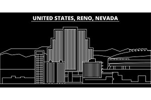Reno, Nevada silhouette skyline. Usa - Reno, Nevada vector city, american linear architecture, buildings. Reno, Nevada travel illustration, outline landmarks. Usa flat icon, american line banner