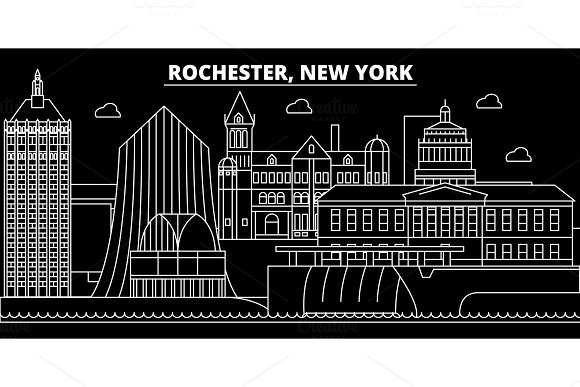 Rochester silhouette skyline. USA - Rochester vector city, american linear architecture, buildings. Rochester travel illustration, outline landmarks. USA flat icon, american line banner