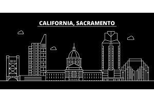 Sacramento silhouette skyline. USA - Sacramento vector city, american linear architecture, buildings. Sacramento travel illustration, outline landmarks. USA flat icon, american line banner