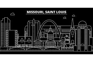 Saint Louis silhouette skyline. USA - Saint Louis vector city, american linear architecture, buildings. Saint Louis travel illustration, outline landmarks. USA flat icon, american line banner