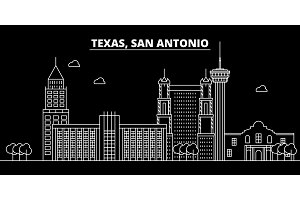 San Antonio silhouette skyline. USA - San Antonio vector city, american linear architecture, buildings. San Antonio travel illustration, outline landmarks. USA flat icon, american line banner
