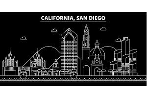 San Diego silhouette skyline. USA - San Diego vector city, american linear architecture, buildings. San Diego travel illustration, outline landmarks. USA flat icon, american line banner