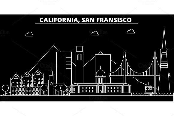 San Francisco silhouette skyline. USA - San Francisco vector city, american linear architecture, buildings. San Francisco travel illustration, outline landmarks. USA flat icon, american line banner