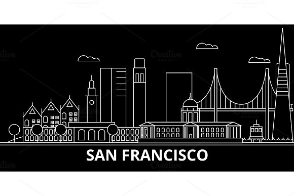 San Francisco city silhouette skyline. USA - San Francisco vector, american linear architecture. San Francisco city travel illustration, outline landmarks. USA flat icon, american line banner