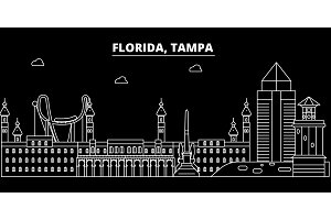 Tampa silhouette skyline. USA - Tampa vector city, american linear architecture, buildings. Tampa travel illustration, outline landmarks. USA flat icon, american line banner