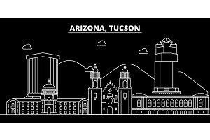 Tucson silhouette skyline. USA - Tucson vector city, american linear architecture, buildings. Tucson travel illustration, outline landmarks. USA flat icon, american line banner