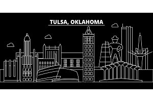 Tulsa silhouette skyline. USA - Tulsa vector city, american linear architecture, buildings. Tulsa travel illustration, outline landmarks. USA flat icon, american line banner