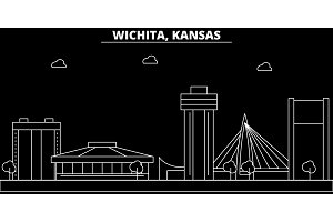 Wichita silhouette skyline. USA - Wichita vector city, american linear architecture, buildings. Wichita travel illustration, outline landmarks. USA flat icon, american line banner