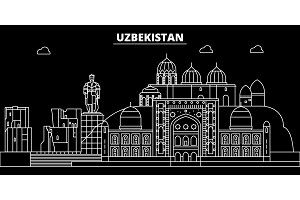 Uzbekistan silhouette skyline, Uzbekistan vector city, uzbek linear architecture, buildingline travel illustration, landmarkflat icon, uzbek outline design banner