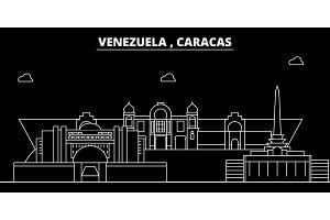 Caracas silhouette skyline. Venezuela - Caracas vector city, venezuelan linear architecture, buildings. Caracas travel illustration, outline landmarks. Venezuela flat icon, venezuelan line banner
