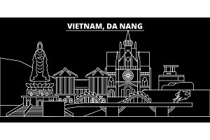 Da Nang silhouette skyline. Vietnam - Da Nang vector city, vietnamese linear architecture, buildings. Da Nang travel illustration, outline landmarks. Vietnam flat icon, vietnamese line banner