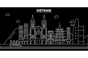 Vietnam silhouette skyline. Vietnam vector city, vietnamese linear architecture, buildingline travel illustration, landmarkflat icon, vietnamese outline design banner